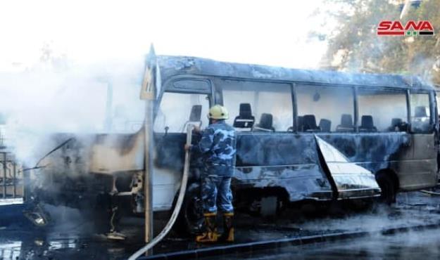 13 کشته در انفجار در مسیر یک اتوبوس در دمشق+تصاویر